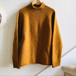 J. Crew men's vtg wool roll neck sweater gold M